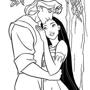 Happy Pocahontas And John Smith Coloring Page Happy Pocahontas