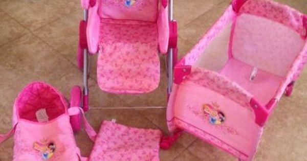 Disney Princess Baby Doll Stroller Carriage Play Yard