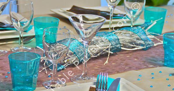 D coration de table pr te poser bleu turquoise et cacao - Chemin de table lumineux ...