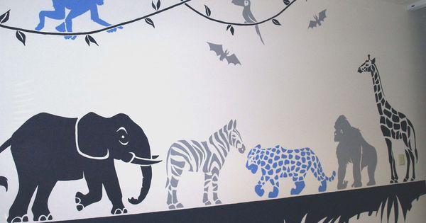Jungle dieren muurschildering jongenskamer peuterkamer pinterest dieren kinderkamer en - Ontwerp muurschildering ...