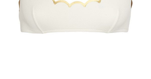 Chloé Scalloped White and Gold Bikini