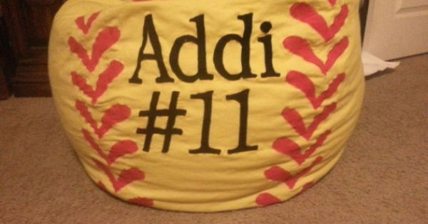 Personalized Softball Bean Bag Chair w/ Liner and by MMsHandmade, $100.00