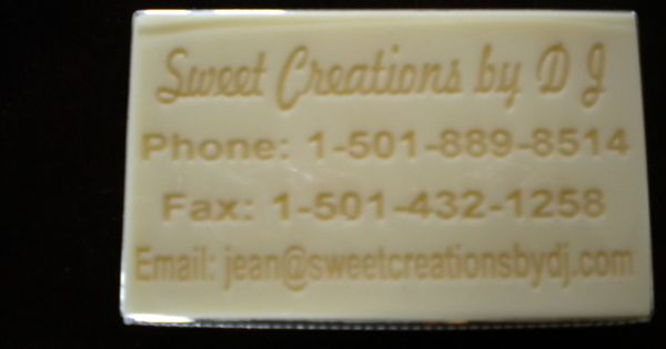 Sweet creations by dj business card in white chocolate for A b mackie salon