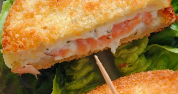 minis croques monsieur pan s au saumon et fromage frais. Black Bedroom Furniture Sets. Home Design Ideas