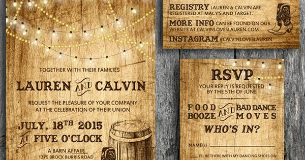 Love this Country Western themed wedding invitation set! Rustic wedding invitation called