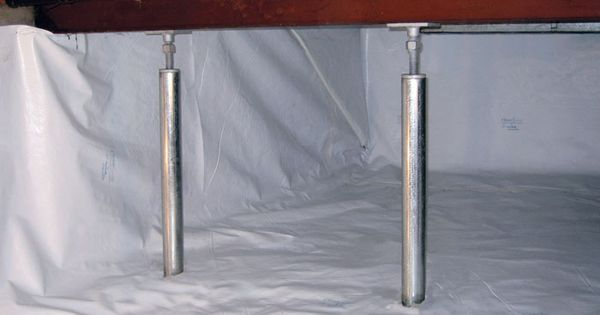 An Encapsulated Crawl Space With Support Posts Installed