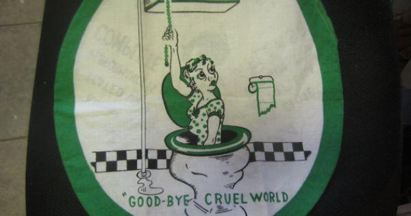 Goodbye Cruel World: Vintage Goodbye Cruel World 2 Sided Toilet Seat By