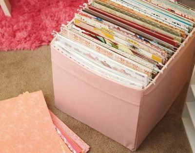 Hanging files for organizing scrapbook paper, stickers, etc. Yes!
