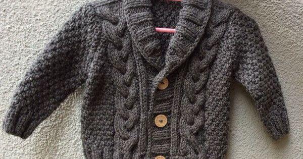 Tricot pull en coton bio b b gris la main tricot gris cardigan b b b b gar on v tements - Tricot a la main ...