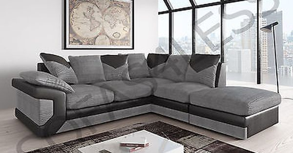 Sale New Dino Fabric Leather Corner Sofa Armchair Footstool Black Grey Brown Leather Corner Sofa Corner Sofa And Armchair Best Leather Sofa
