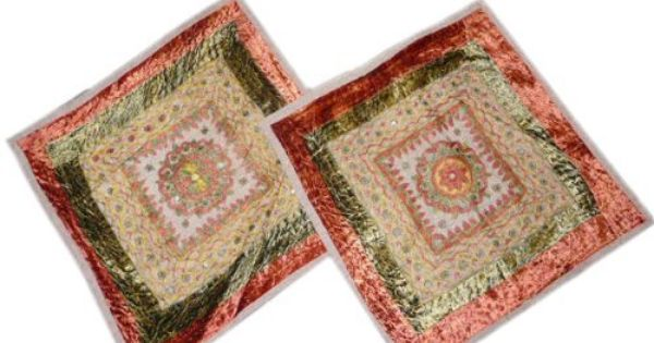 2 Cushion Covers Sofa Couch Mirror Embroidered Sari Green