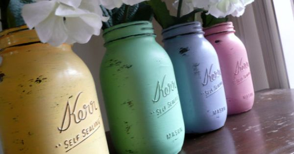 Hand Painted and Distressed Shabby Chic Mason Jars - looks like an