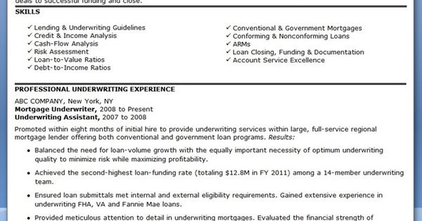 mortgage underwriter resume examples resumes and cover