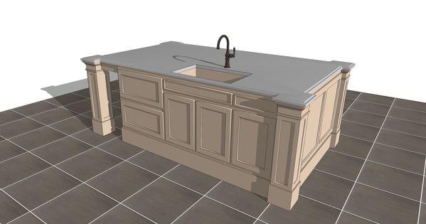 Free 3d sketchup kitchen island counter models download for Sketchup bathroom sink