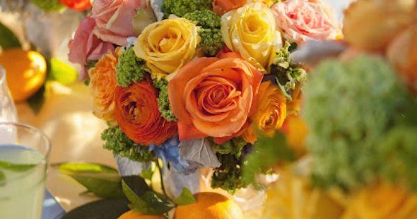 Citrus bright centerpieces summer wedding. love these colors
