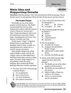 Main Idea And Supporting Details Worksheet For 3rd 5th Grade