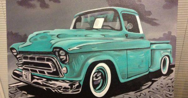 1957 Chevy Truck Original Painting quot Cruisin quot 16X20