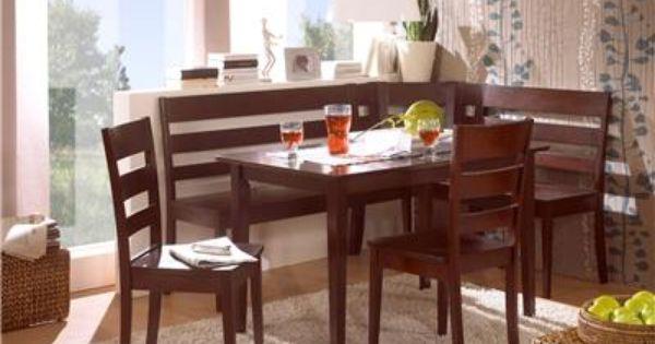 Madrid espresso solid wood corner bench kitchen booth breakfast nook set table kitchens nook - Booth kitchen table set ...