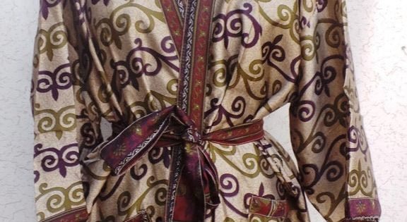 Free Shipping Indian Vintage Silk Sari robe Nightdress Kimono Bathrobe kimono Sleepwear Poly Silk Robe NK39