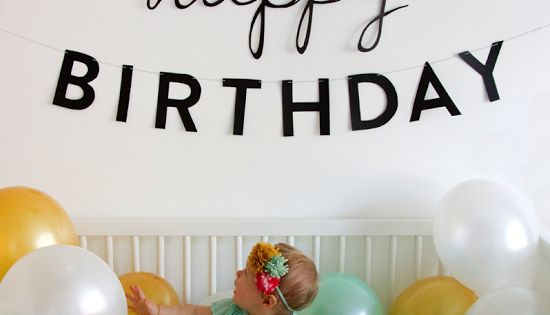 1st birthday photo idea. Love the balloons in the crib and the