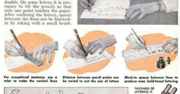 Double Pencil Lettering Popular Mechanics January 1950