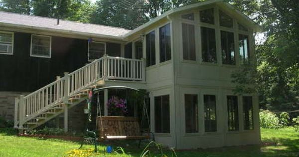 Two story sunroom addition home remodel ideas for Two story sunroom