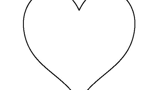 6 Inch Heart Pattern. Use The Printable Outline For Crafts