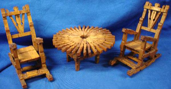 FYI - Mini /Dollhouse Idea for Table & Rocking chairs from clothespins ...