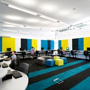 Colorful elementary computer lab nice color blocking - How many years is interior design school ...