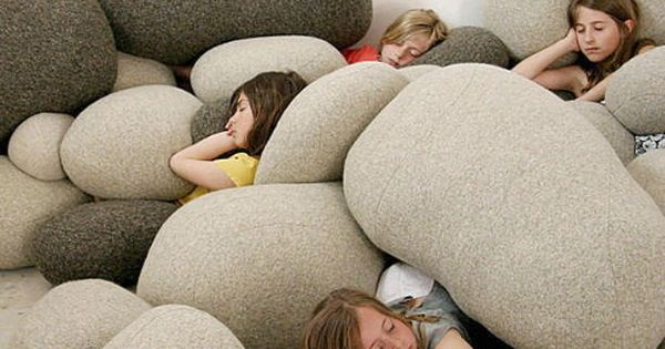 Rock pillows - neat idea for kids playroom!