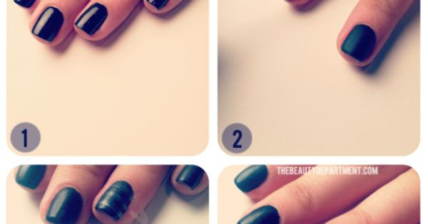 Matte black mani use cornstarch or elf clear matte nail polish to