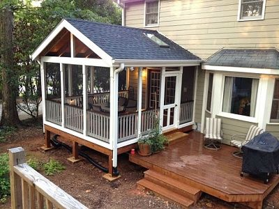 Screened porch project final product minus some more staining......with deck.. | Porch design, Screened porch designs, House with porch