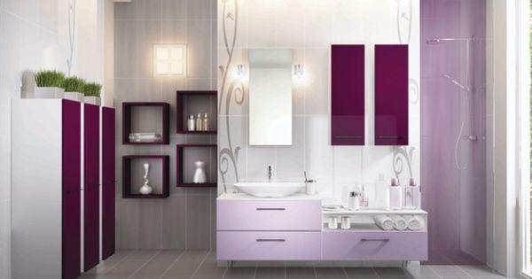 Salle de bains violet cuisines schmidt id es pour la for Salle de bain violet