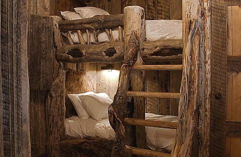 ooh I love it. log cabin look but elegant. the bunk beds