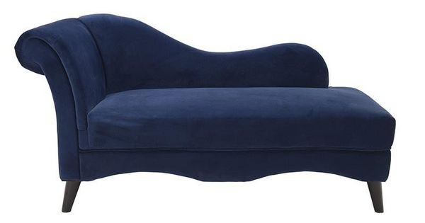 Chaise lounge velvet in blue color 163x69x80 couches for Blue velvet chaise