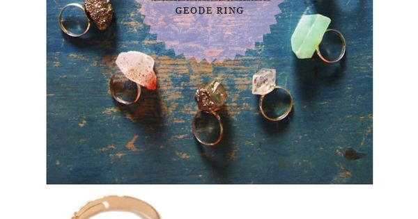 DIY geode pyrite stone ring