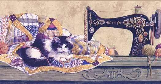 Sewing Cat Wallpaper Border Wallpaper Border Cat Wallpaper Wallpaper