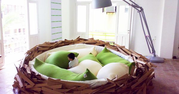 Bird nest bed, cool idea for a kids room, though maybe note