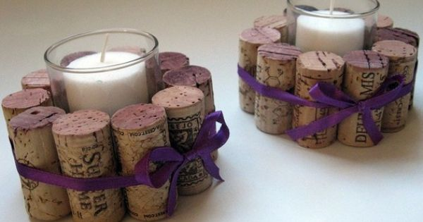 favor ideas with wine corks candle holders
