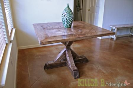 4x4 X Base Pedestal Dining Table With Planked Wood Top Square Kitchen Tables Pedestal Dining Table Diy Furniture