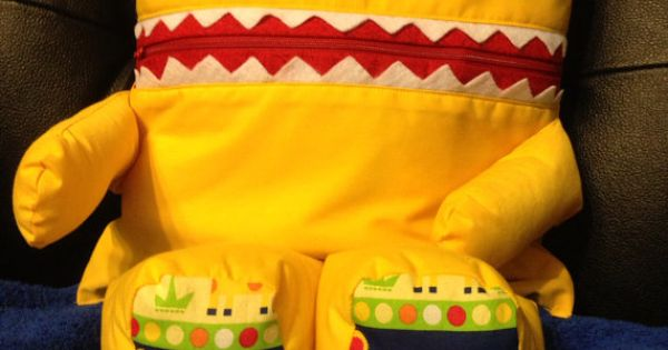 Animal Pillow That Turns Into Pajamas : Pajama Eater ? A Pajama Bag / Pillow Monster or Animal - Green with Zebras or custom made to ...