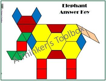 Pattern Blocks Zoo Animals Puzzles By A Thinker S Toolbox Includes