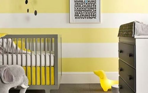 kinderzimmer gestalten streifen wand gelb buttegelb grau kinderzimmer pinterest babyzimmer. Black Bedroom Furniture Sets. Home Design Ideas
