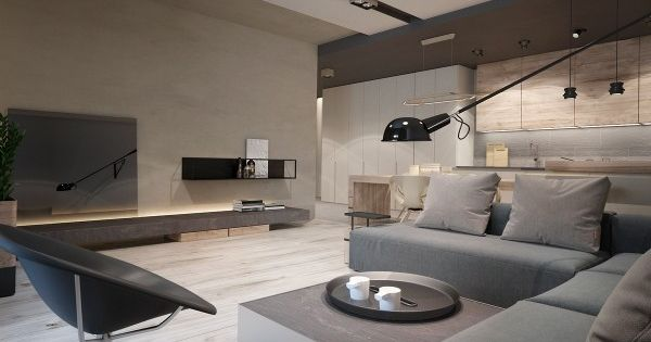 This interior by Ukraine-based designer Yana Osipenko features a more rugged natural ...
