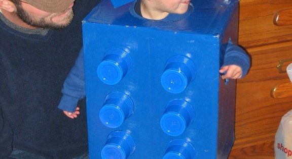 cardboard box + solo cups = lego costume. Store this under last