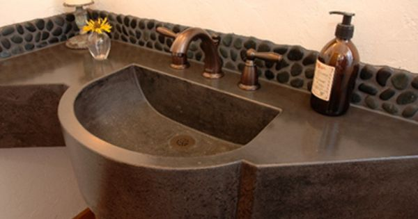 Bathroom concrete counter custom built to fit odd shaped for Odd shaped kitchen sinks