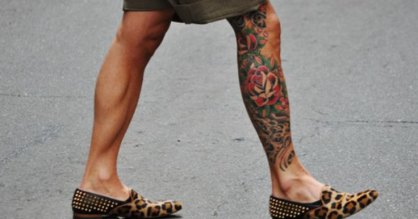 mens legs | tattoo - cool fashion style inked chicquero leopard shoes