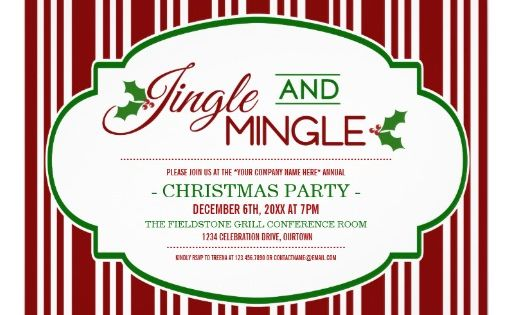 jingle  u0026 mingle company christmas party invitation