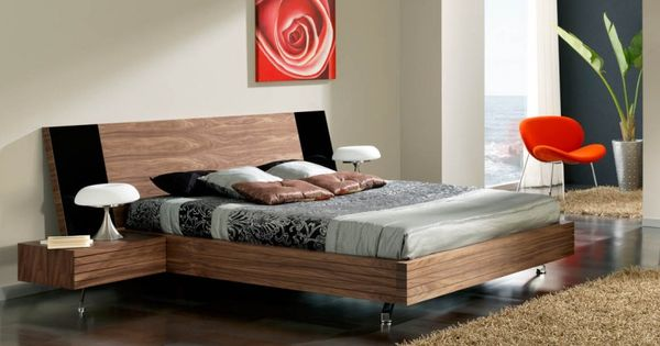 Bedroom Minimalist Floating Platform Bed On Ceramic Floor Wooden Bunk Sets Black Platform Bed
