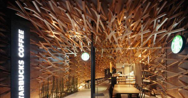 Starbucks coffee restaurant interior design by Kengo Kuma and Associates
